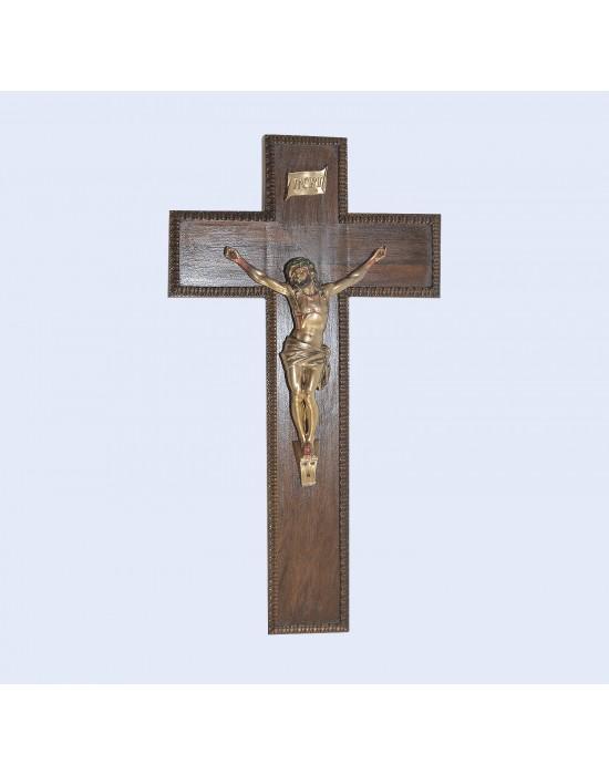 Crucifijo base madera y cristo acero