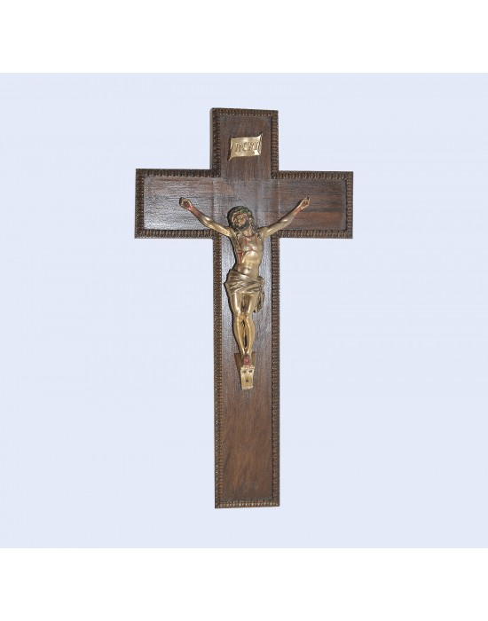 Crucifix base fusta i crist acer