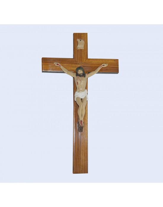 Crucifijo base madera y cristo pasta
