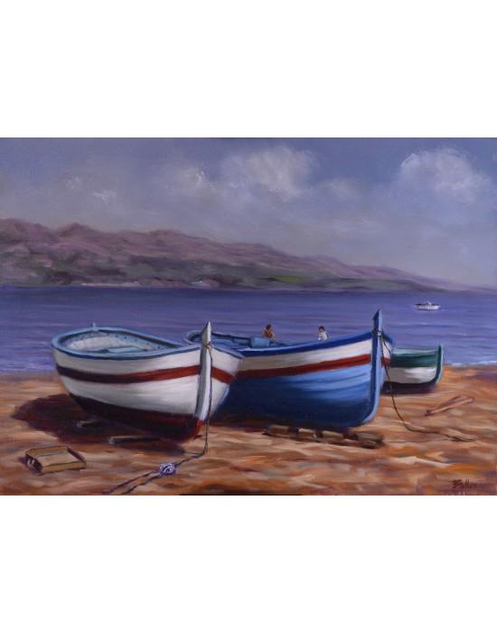 Cuadro 3 Barcas - Pintura Marina Original