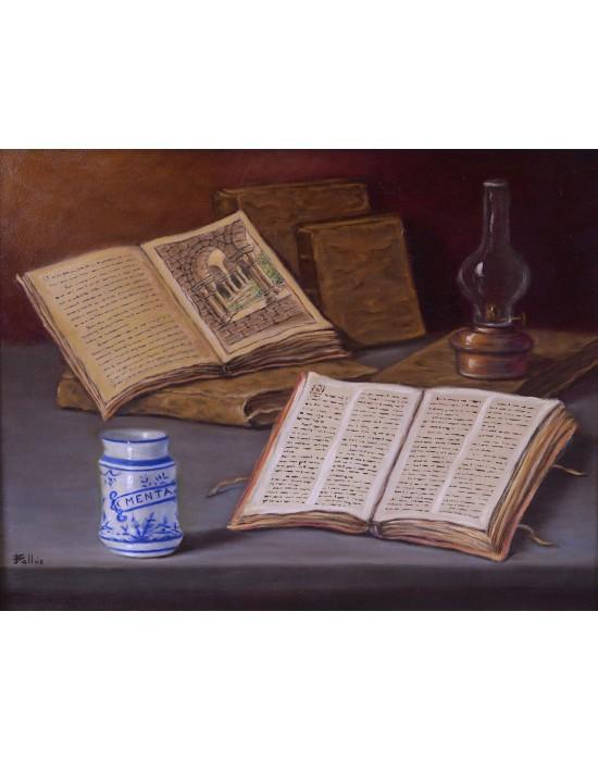 Cuadro Libros Viejos - Pintura Original