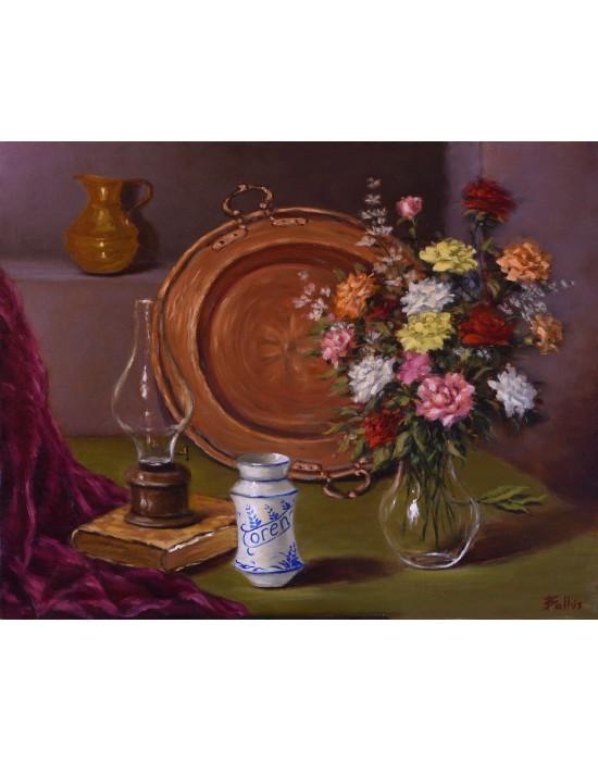 Cuadro Bodegón con Cobre y Flores - Pintura Original