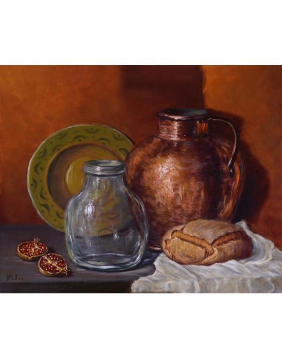 Quadre Bodegó amb Cours i Pà - Pintura Original