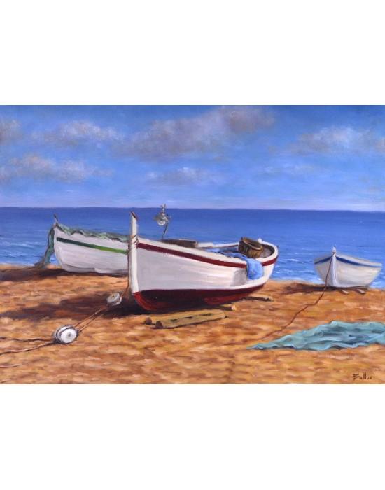 Cuadro Barcas en la Playa - Pintura Marina Original