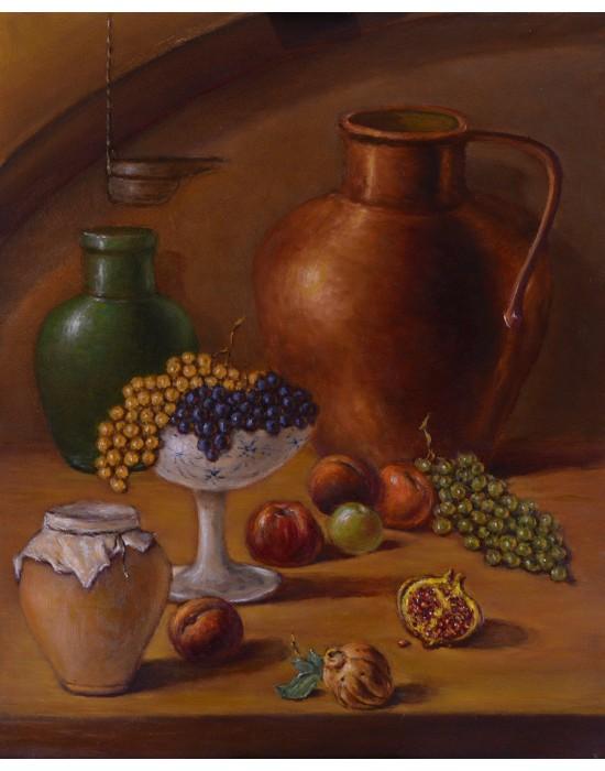 Cuadro Bodegón con Cobre y Fruta - Pintura Original