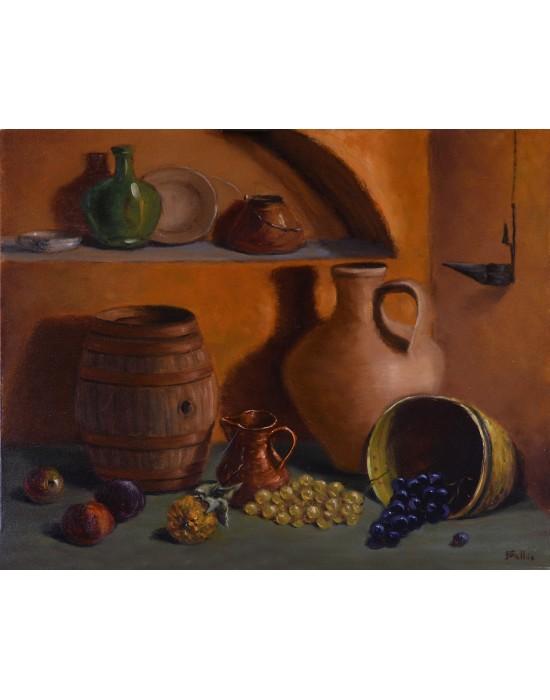 Cuadro Bodegón con Barrica y Fruta - Pintura Original