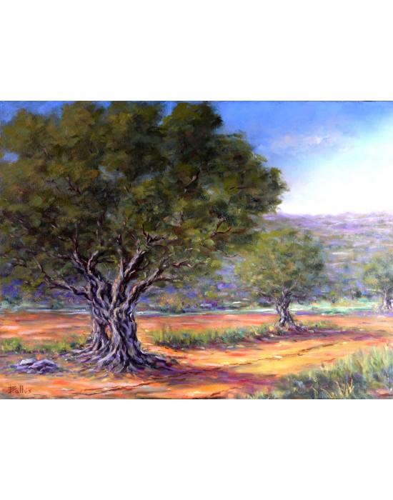 Cuadro Olivos - Pintura Paisaje Original