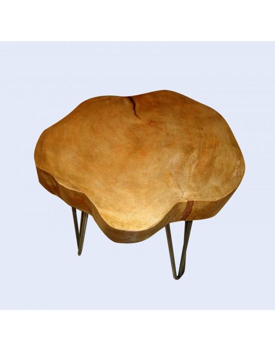Mesa de centro rústica con rodaja de haya