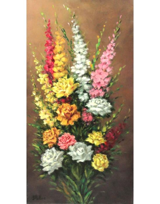 Cuadro Rosas y Gladiolos - Pintura Original
