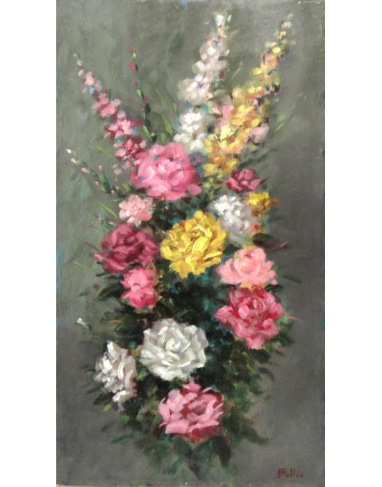 Cuadro Rosas y Gladiolos 2 - Pintura Original
