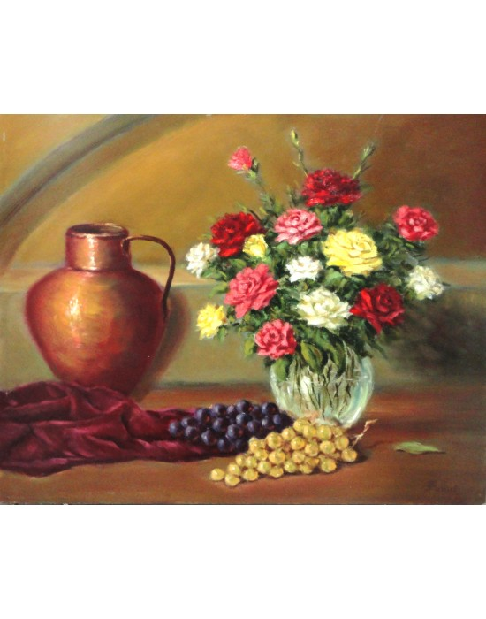Cuadro Bodegón con Flores y Uvas - Pintura Paisaje Original