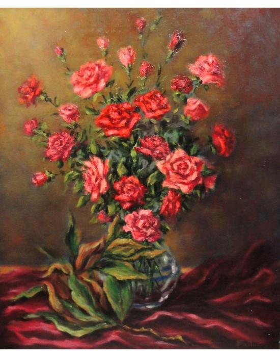 Cuadro Jarrón con rosas - Pintura Original