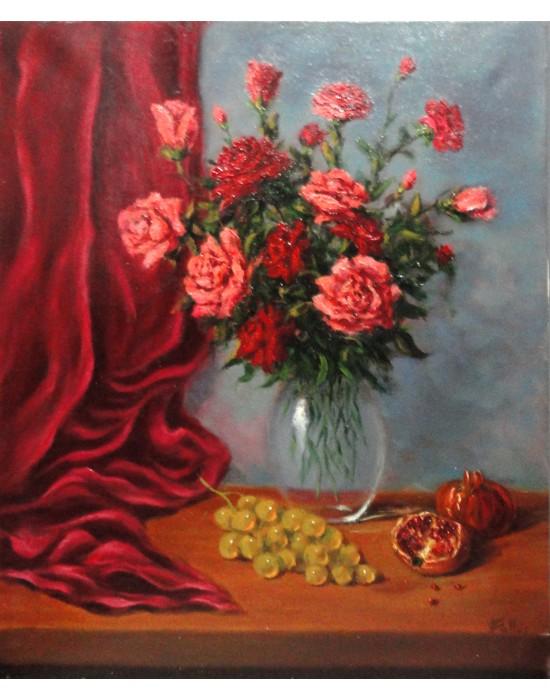 Cuadro Jarrón con Flores, Granadas y Uvas - Pintura Original