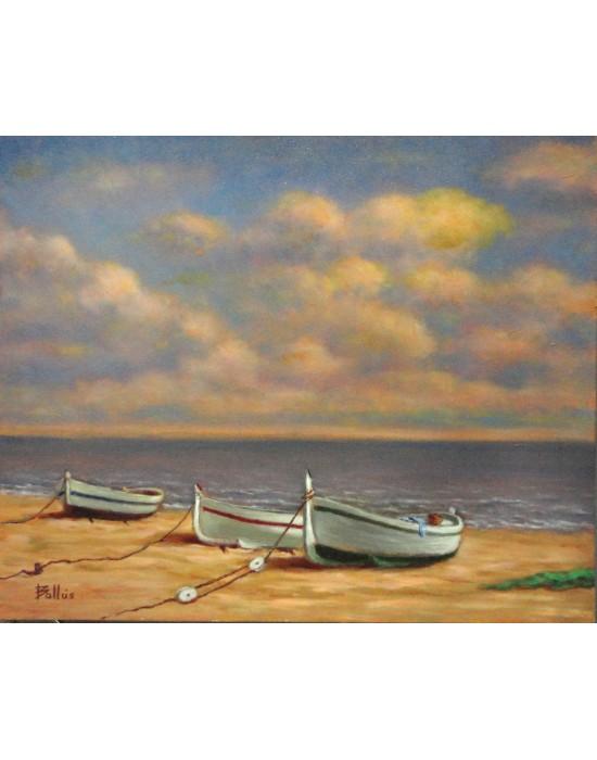 Cuadro 3 Barcas Amarradas - Pintura Original