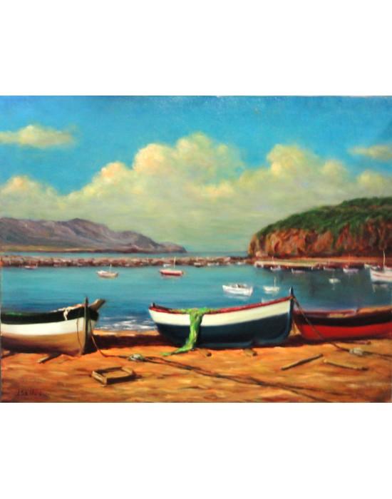 Cuadro Barcas en Puerto de Llançà - Pintura Original