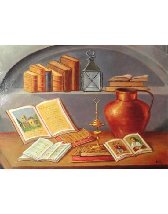 Cuadro Libros y Cobre - Pintura Original