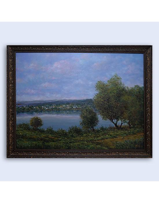 Cuadro Lago en bosque - Pintura Original