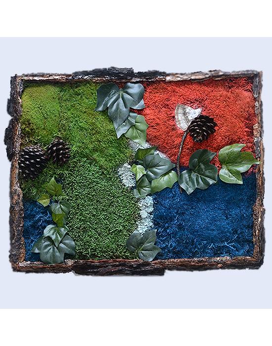 Jardín vertical con musgo preservado marco corteza