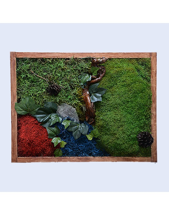 Jardín vertical con musgo y líquens preservados