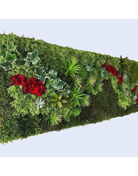 Jardín vertical con musgo preservado y plantas artificiales