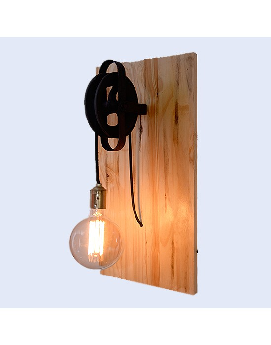 Aplic de paret fusta i politja metall