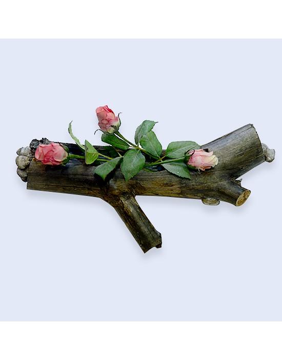Macetero en tronco con setas