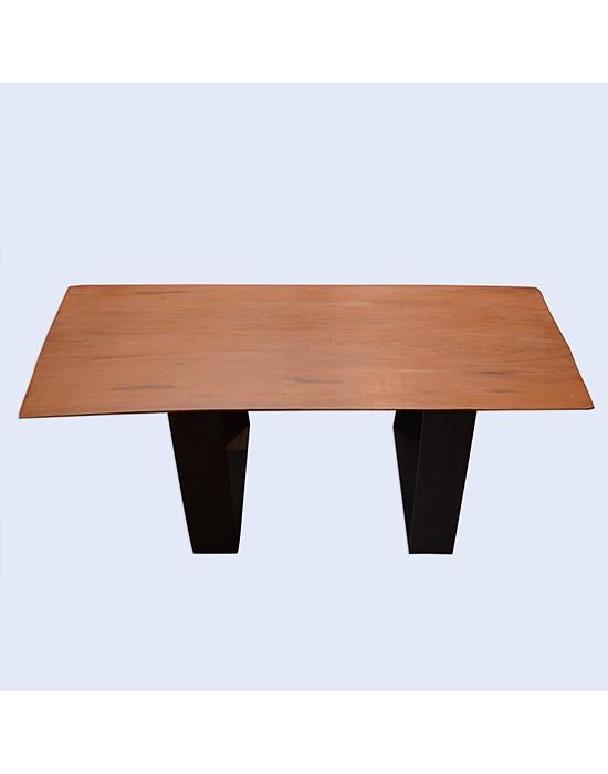 Mesa de centro rústica con tronco de haya