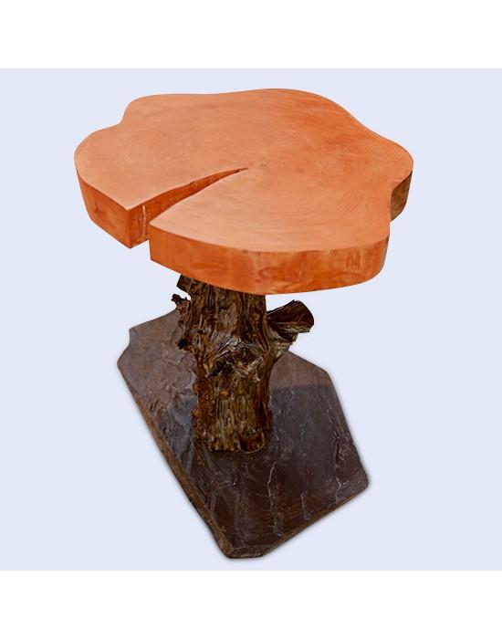 Taula de centre tronc amb forma de bolet