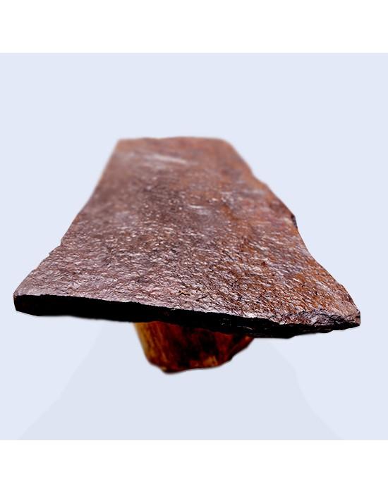 Mesa centro larga de piedra y pata tronco
