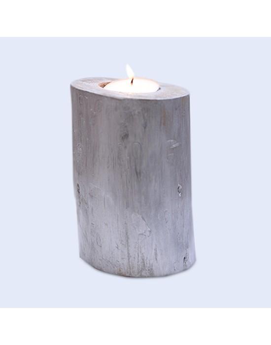 Portavelas de madera efecto plata