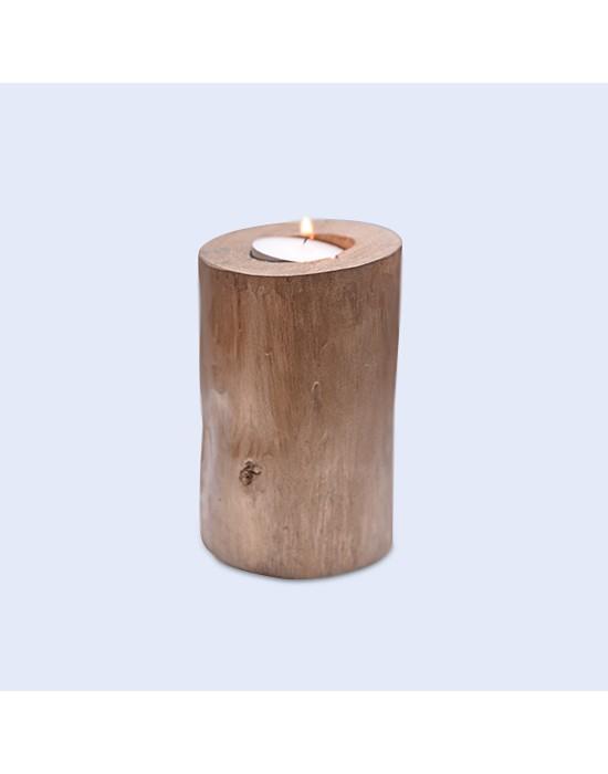 Porta-espelmes de fusta efecte or