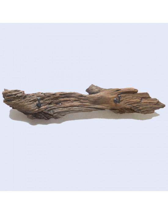 Penjador de fusta 2 ganxos llautó