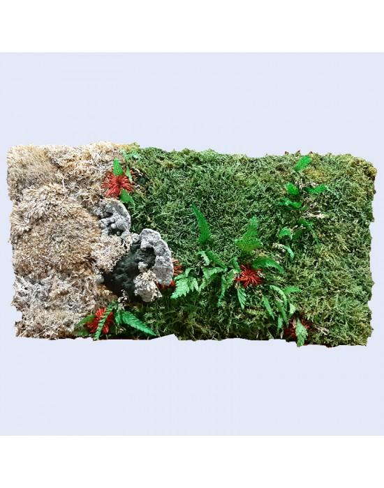 Jardín vertical con musgo y seta preservados