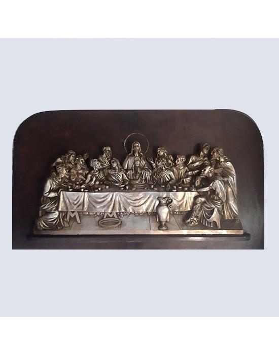 Santa Cena color plata y oro con relieve