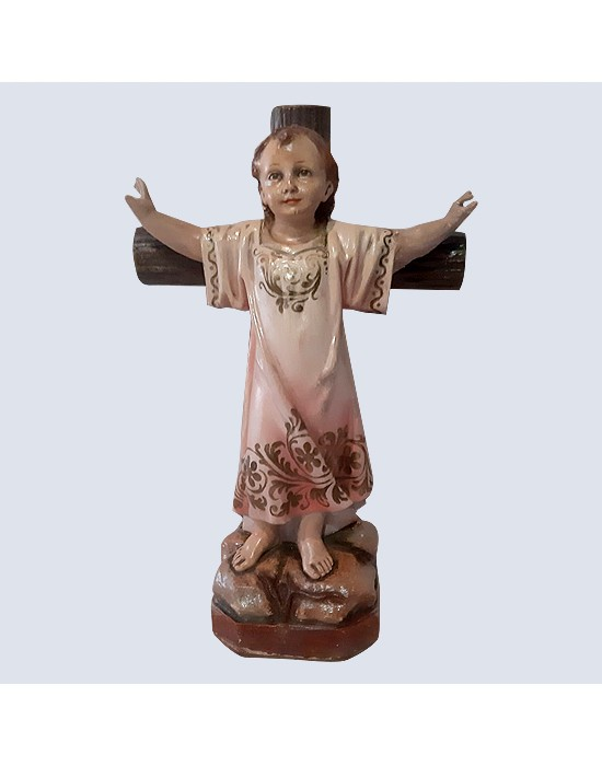 Figura del niño Jesús en la cruz