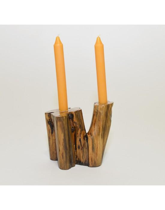 Canelobre de fusta 2 espelmes