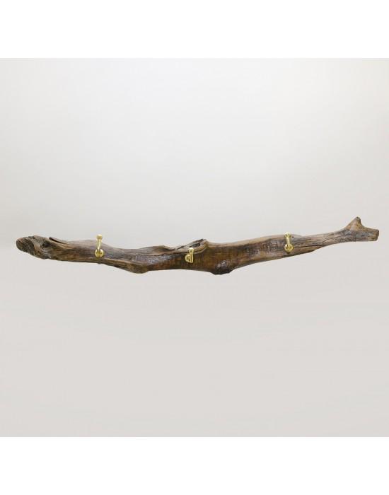 Perchero de madera 3 ganchos latón